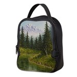 Mountain forest lake Neoprene Lunch Bag