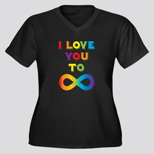 I Love You T Women's Plus Size V-Neck Dark T-Shirt