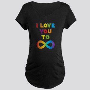 I Love You To Infinity Rain Maternity Dark T-Shirt