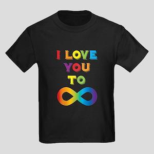 I Love You To Infinity Rainbow Kids Dark T-Shirt