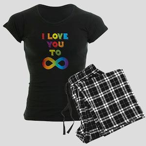 I Love You To Infinity Rainb Women's Dark Pajamas