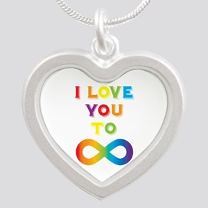 I Love You To Infinity Rainb Silver Heart Necklace
