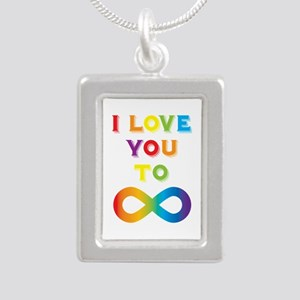 I Love You To Infinity R Silver Portrait Necklace