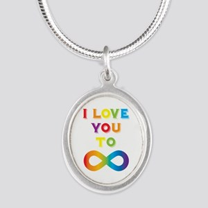 I Love You To Infinity Rainbo Silver Oval Necklace