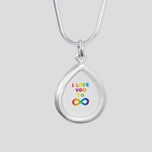 I Love You To Infinity R Silver Teardrop Necklace