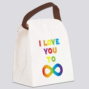I Love You To Infinity Rainbow Canvas Lunch Bag