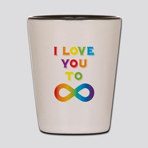 I Love You To Infinity Rainbow Shot Glass