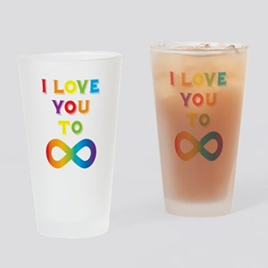 I Love You To Infinity Rainbow Drinking Glass