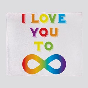 I Love You To Infinity Rainbow Throw Blanket