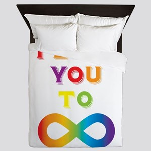 I Love You To Infinity Rainbow Queen Duvet