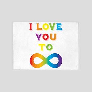 I Love You To Infinity Rainbow 5'x7'Area Rug