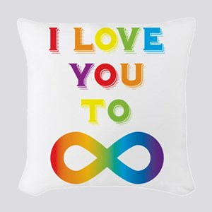I Love You To Infinity Rainbow Woven Throw Pillow