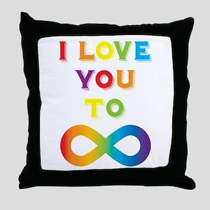 I Love You To Infinity Rainbow Throw Pillow