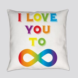 I Love You To Infinity Rainbow Everyday Pillow