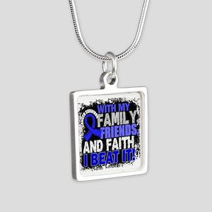 Colon Cancer Survivor Fami Silver Square Necklace