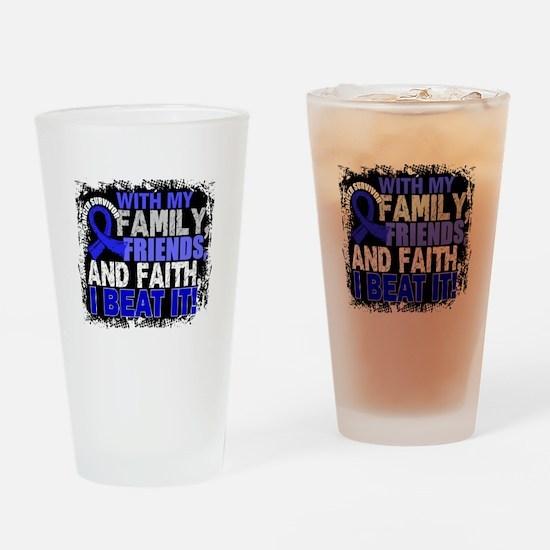 Colon Cancer Survivor FamilyFriends Drinking Glass