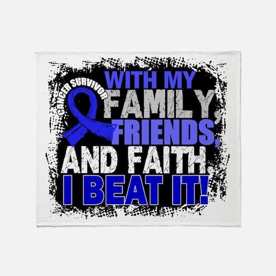 Colon Cancer Survivor FamilyFriendsF Throw Blanket