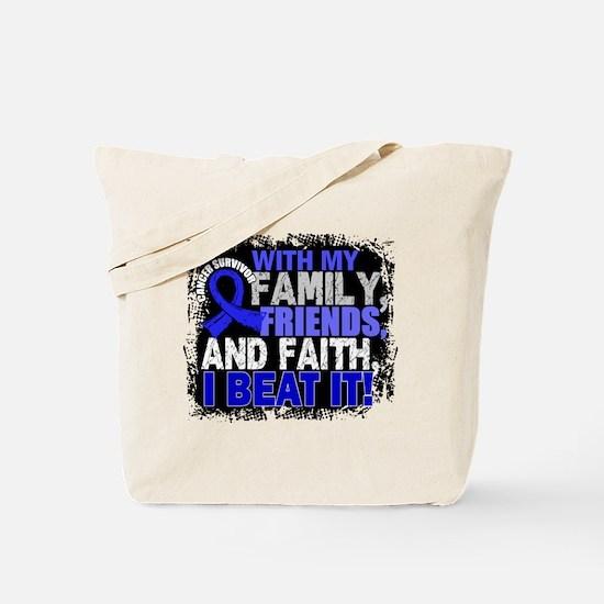 Colon Cancer Survivor FamilyFriendsFaith Tote Bag