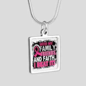 Breast Cancer Survivor Fam Silver Square Necklace