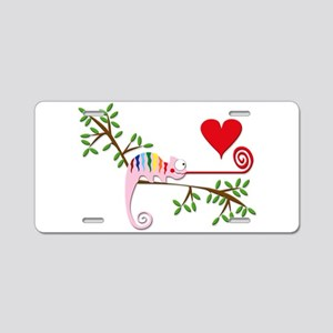 Gay Chameleon in Love Aluminum License Plate