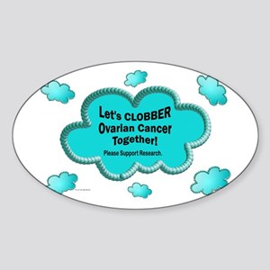 Clobber Ovarian Cancer Oval Sticker
