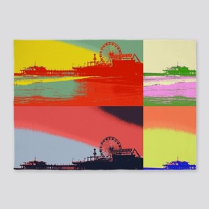 Santa Monica Pier Pop Art 5'x7'Area Rug