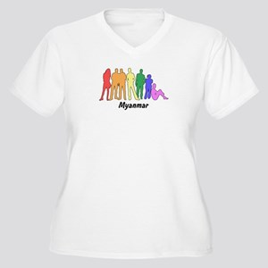Myanmar diversity Women's Plus Size V-Neck T-Shirt