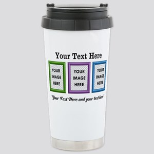 CUSTOM 3 Image Frame Green Blue Purple Travel Mug