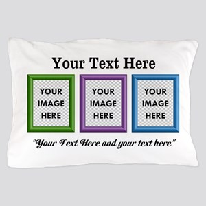 CUSTOM 3 Image Frame Green Blue Purple Pillow Case