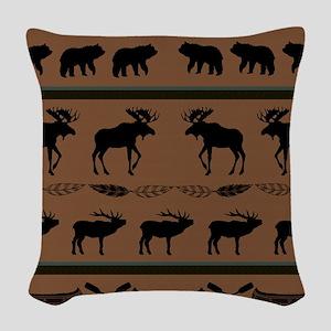 Deep Tan Cabin Blanket Woven Throw Pillow