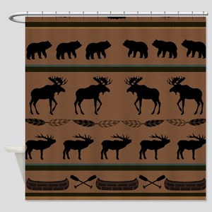 Deep Tan Cabin Blanket Shower Curtain