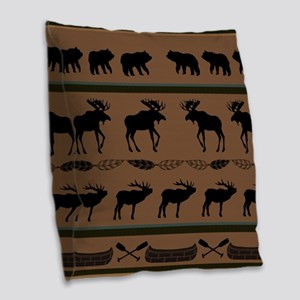 Deep Tan Cabin Blanket Burlap Throw Pillow
