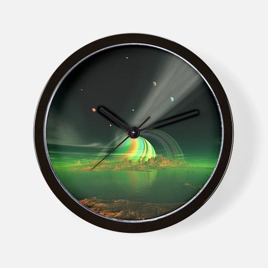 Moon View on Planet Newerades Wall Clock
