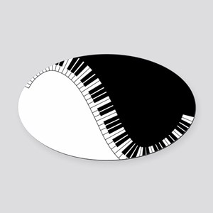 Piano Keyboard Oval Car Magnet