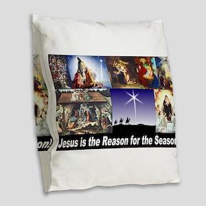 Christmas Nativity Medley Burlap Throw Pillow