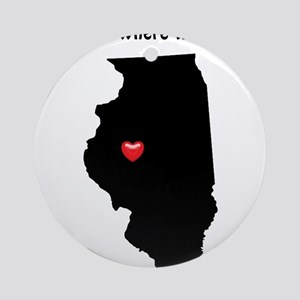 ILLINOIS Home is Where the Heart Ornament (Round)