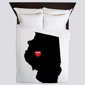 ILLINOIS Home is Where the Heart Is Queen Duvet