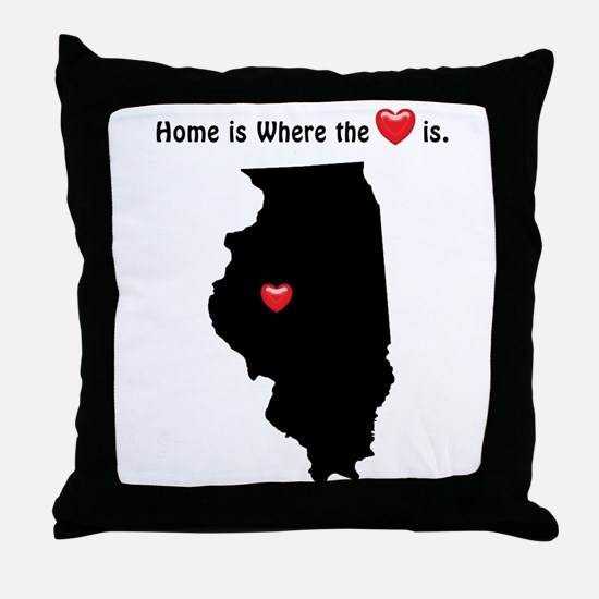 ILLINOIS Home is Where the Heart Is Throw Pillow