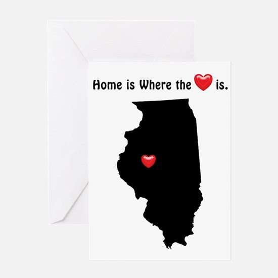 ILLINOIS Home is Where the Heart Is Greeting Cards