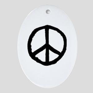 Rough Peace Symbol - Black Oval Ornament