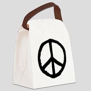 Rough Peace Symbol - Black Canvas Lunch Bag