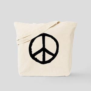 Rough Peace Symbol - Black Tote Bag