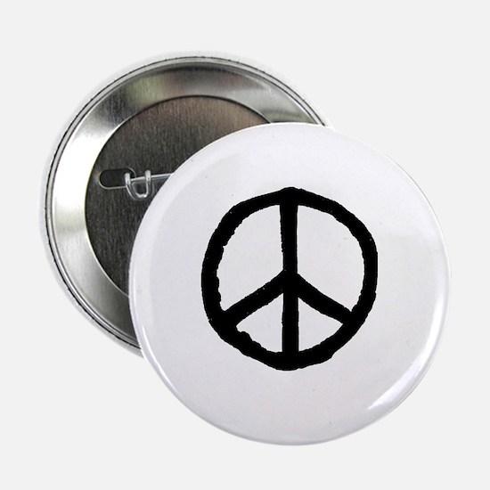 """Rough Peace Symbol - Black 2.25"""" Button"""