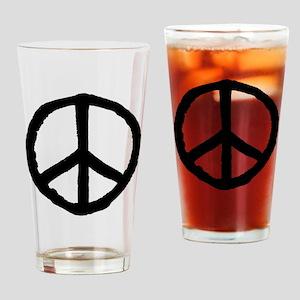 Rough Peace Symbol - Black Drinking Glass