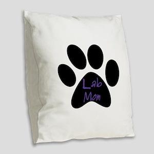 Lab Mom Burlap Throw Pillow