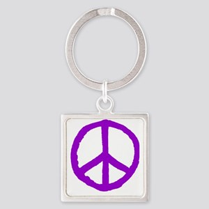 Rough Peace Symbol Square Keychain