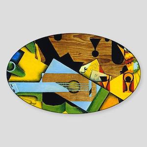 Still Life with a Guitar by Juan Gr Sticker (Oval)