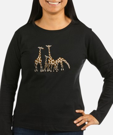 Giraffe Family Portrait in Browns and Beige Long S