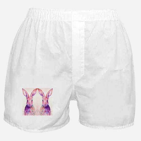 Watercolor Tow Rabbits Hares Boxer Shorts