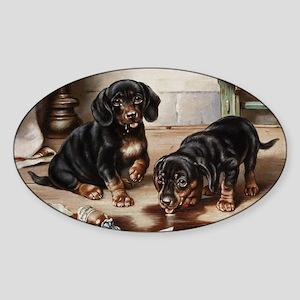 Two Dachshunds by Carl Reichert Sticker (Oval)